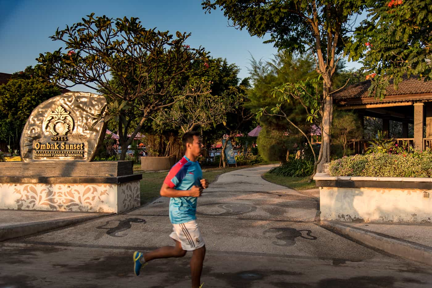 Afternoon run at Hotel Ombak Sunset in Gili Trawangan Island of Lombok Indonesia