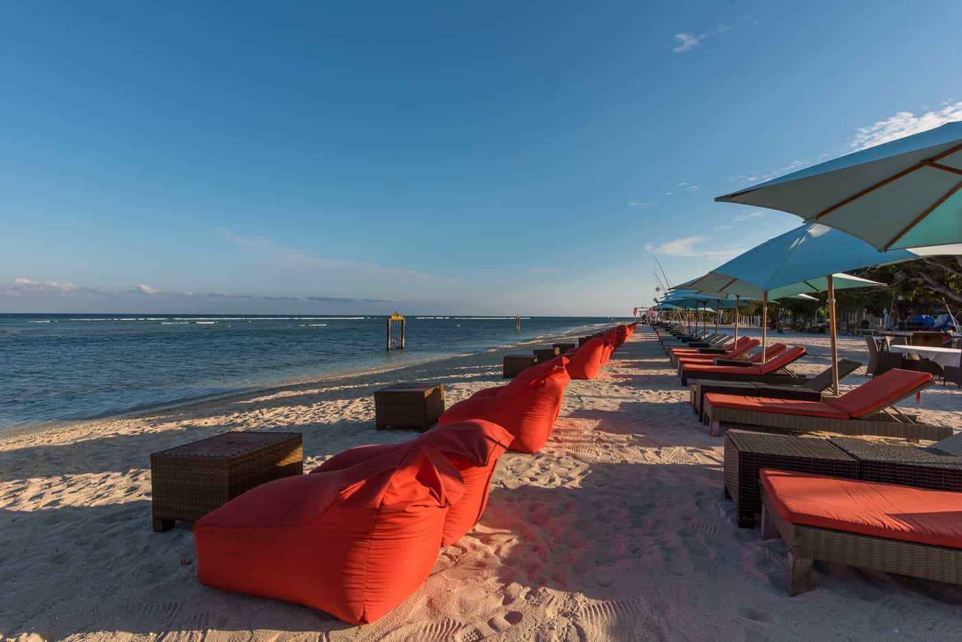 Beachfront chairs for sunset views at Hotel Ombak Sunset in Gili Trawangan Island of Lombok Indonesia