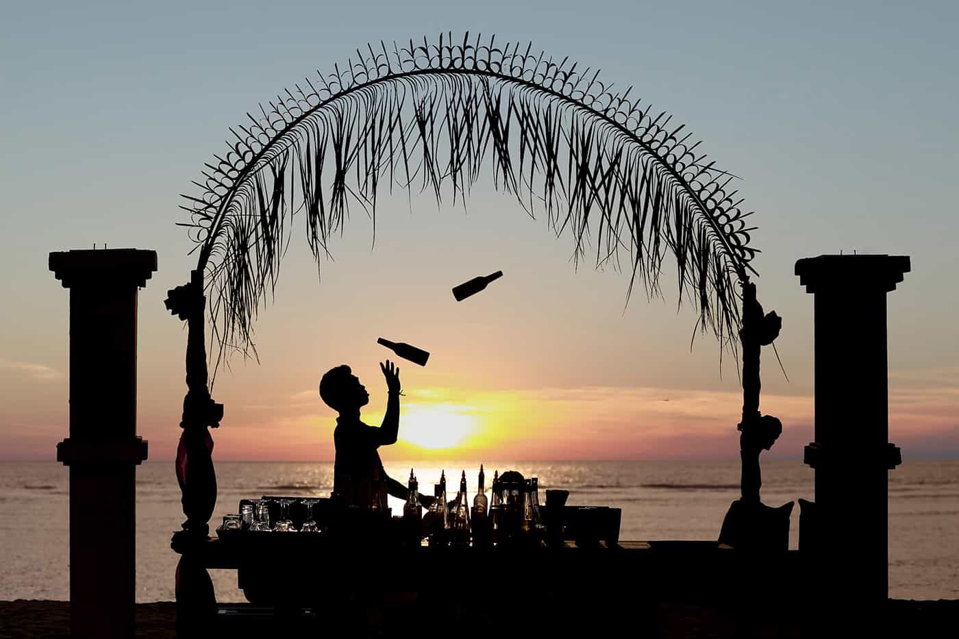 Sunset beach cocktails at Hotel Ombak Sunset in Gili Trawangan Island of Lombok Indonesia